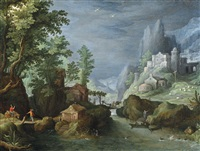 a mountainous river landscape with travelers crossing a bridge, a town on the mountainside to the right by paul bril