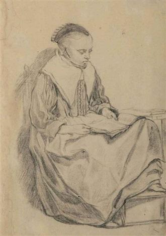 jeune femme assise lisant by pieter cornelisz van slingeland