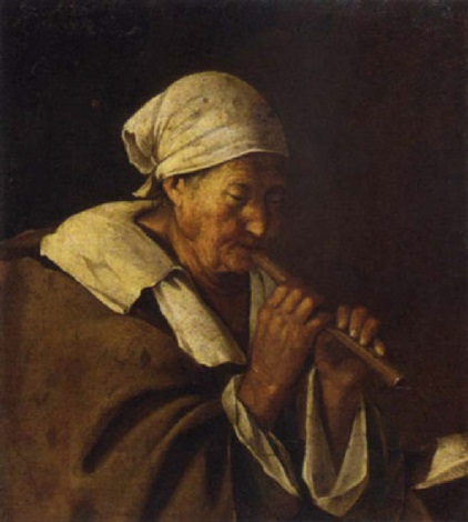 an old woman playing a flute by lambert jacobsz