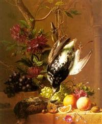 stilleven met druiven, sinaasappels, dahlia's en snippen by arnoldus bloemers