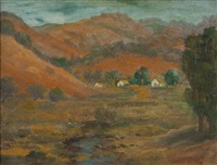 landscape with hills and three houses by selden connor gile