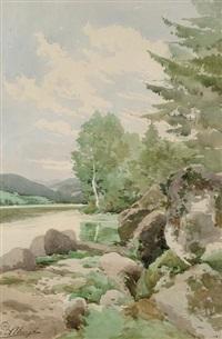 rochers en bord de rivière by auguste allongé
