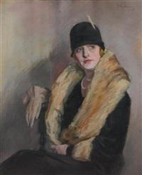 portrait de femme au collier de perles by miklos (nicolas) vadasz