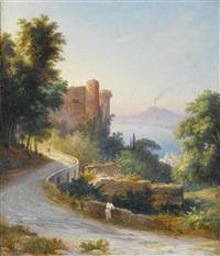 die burg von castellammare di stabia mit rauchendem vesuv by johann-rudolph buhlmann