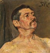 modelstudie. brystbillede en face af en nøgen mand med mundskæg og hageskæg. venstre skulder løftet. bonnats skole by peder severin krøyer