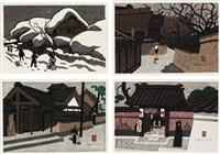 winter in aizu/ autumn in aizu/ tea house/ aizu (set of 4) by kiyoshi saito
