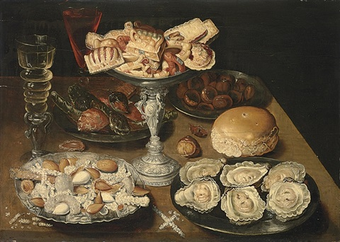 a silver tazza of sweetmeats, pewter platters of oysters by osias beert the elder