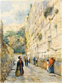 the wailing wall, jerusalem by gustav bauernfeind