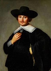 porträtt av herreman i spetskrage by isaac luttichuys