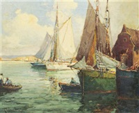 fishing boats at harbor by george thompson pritchard