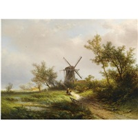 figures resting near a mill by pieter lodewijk francisco kluyver