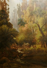 forest landscape with stream by george alfred john webb