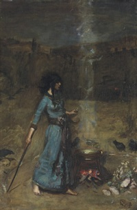 study for the magic circle by john william waterhouse