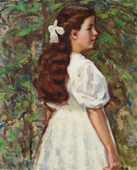 girl in a white dress by elmer livingston macrae