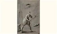 homme armé prêt au combat, entouré de deux épées, d'un tabouret, d'un chapeau, et d'un oiseau sur sa branche (+ etude d'un cheval, verso) by jacob matthias weyer
