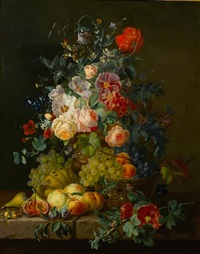 still life of fruit and flowers on a ledge by amalie kaercher