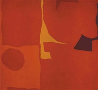 disc fragments in red: june by patrick heron