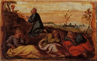 christ washing the disciples' feet by romanino (girolamo romani)