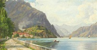mountain scenery with houses and boats at lago di garda by wenzel ulrik tornoe