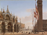 venedig, blick auf die piazzetta san marco und blick auf den canal grande (pair) by frans vervloet