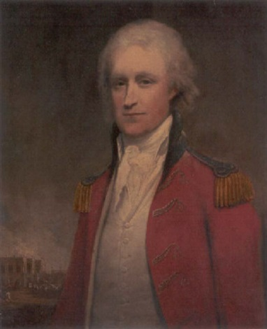 portrait of an aide-de-camp to the governor of bengal, with old government house, calcutta, beyond by robert home