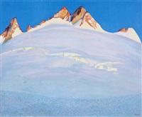 verschneite gebirsgkette vor tiefblauem himmel by theodor pasche