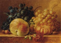 grapes, a peach, a tomato, a carnation and nuts on a marble ledge by maria gertrude goeje-barbiers
