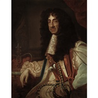 portrait of charles ii of england wearing the regalia of the order of the garter by sir peter lely