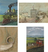 maiden run of missippi railroad from madison (+ 3 others; 4 works) by franz holzlhuber