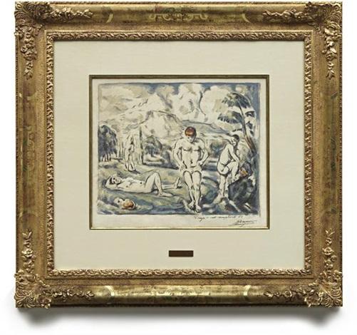 les baigneurs grande planche the large bathers by paul cézanne