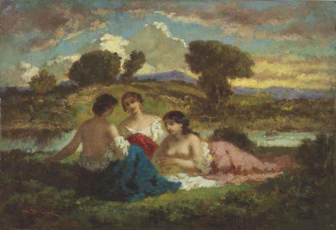 trois jeunes baigneuses se reposant sur la berge by narcisse virgile diaz de la peña