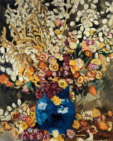 blue vase of flowers by louis valtat