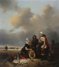 famille de pêcheurs à la plage by antonie waldorp
