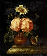 roses in an earthenware vase on a marble ledge by willem frederik van royen