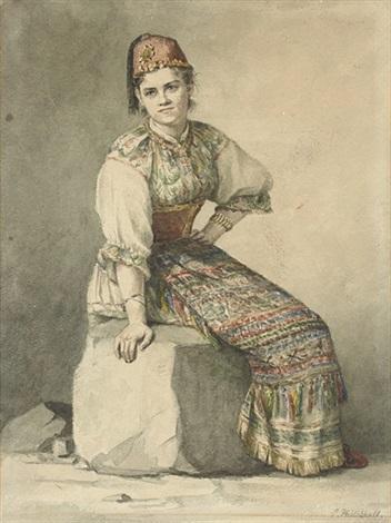 a crimean girl in traditional costume by konstantin nikolaevich filippov