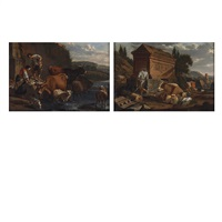 herdsman with his livestock among ruins (+ country folk and livestock along a river; pair) by karel dujardin