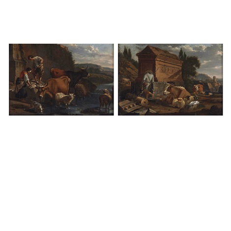 herdsman with his livestock among ruins country folk and livestock along a river pair by karel dujardin