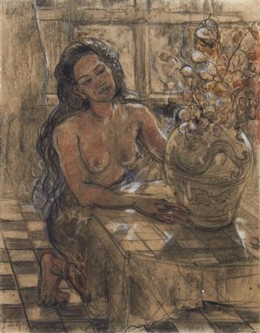 a balinese woman arranging flowers by adrien jean le mayeur de merprés