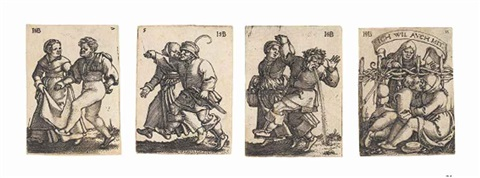 the peasants feast set of 12 by hans sebald beham