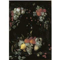 a still life with a roemer, oranges, grapes, plums, lemons and other fruit in a niche surrounded by garlands of fruit by jan pauwel gillemans the elder