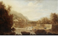 figures laundering clothes in a landscape by bonaventura peeters the elder
