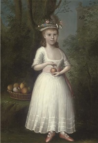 portrait of a girl in a white dress, holding an apple, in a wooded landscape by anglo-american school (18)