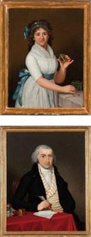 portrait d'une dame de qualité, avec le médaillon de son époux en pendentif (+ portrait de l'époux à sa table de travail, écrivant une lettre; pair) by gaspare landi