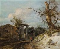 landschaft mit bauernhaus, einem großen tor und einem knorrigen baum by roelof van vries