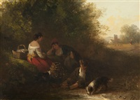 family and dog resting beside a stream by edward robert smythe