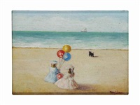 balloons on the beach; together with a companion painting summer afternoon (2 works) by f. milani