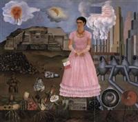 autorretrato en la frontera entre méxico y los estados unidos by frida kahlo