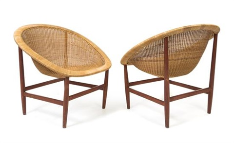 A Pair Of Basket Chairs By Nanna And Jørgen Ditzel