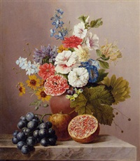 a bouquet of flowers in a terracotta vase on a marble ledge with a pomegranate and grapes by arnoldus bloemers
