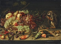 apples, cherries, apricots and other fruit in a basket by clara peeters